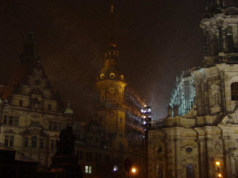 Schlossplatz im Schneesturm