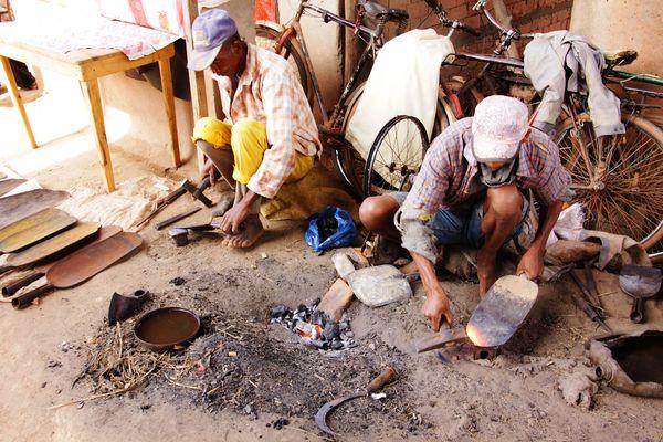 Schmiede auf dem Dorfmarkt