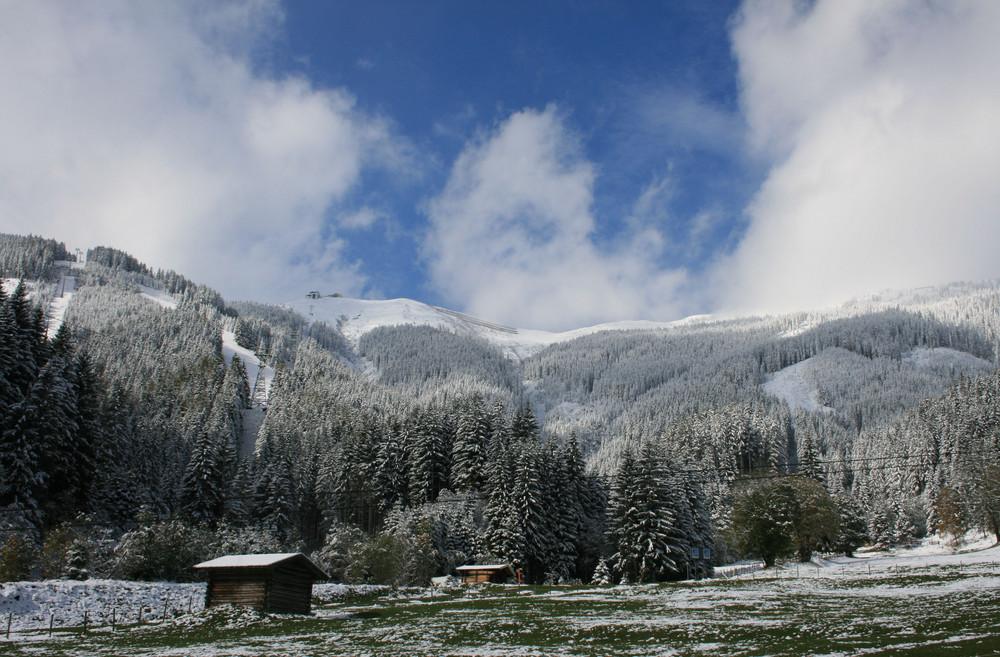 Schmittenhöhe im strahlenden Sonnenschein - vom Winter überrascht