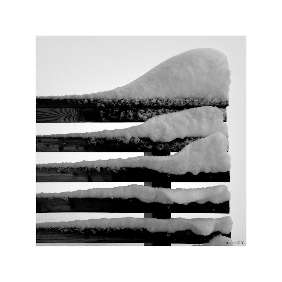 Schnee auf dem Balkon
