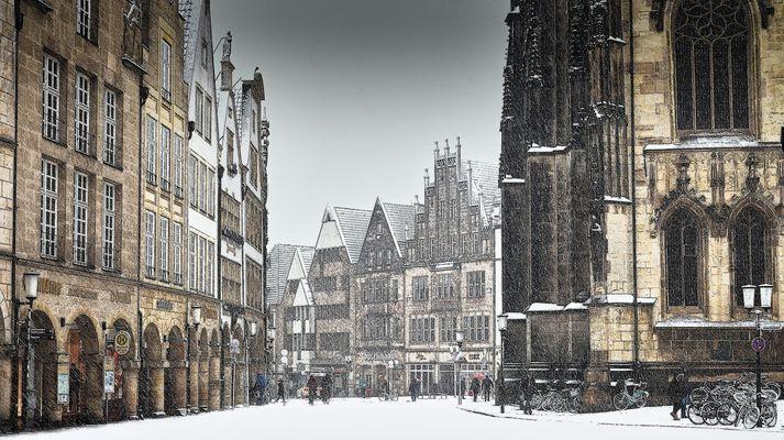Schnee auf dem Prinzipalmarkt ...