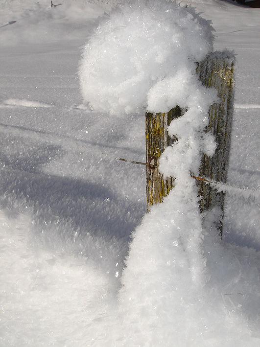Schnee auf Zaunpfahl
