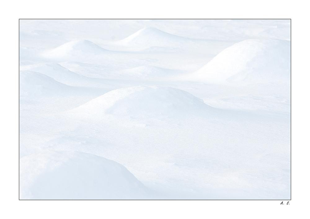 Schnee, der auf Maulwurfshügeln fällt....