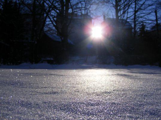 Schnee im Sonnenuntergang