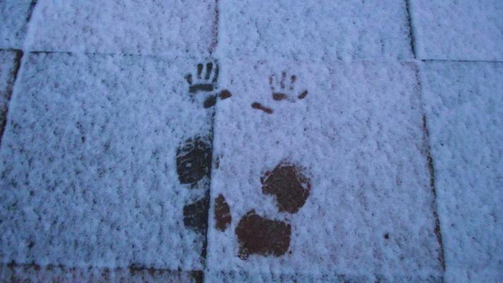 Schnee und Abdrücke