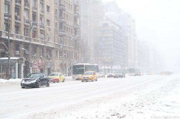Schneefall im Bukarest