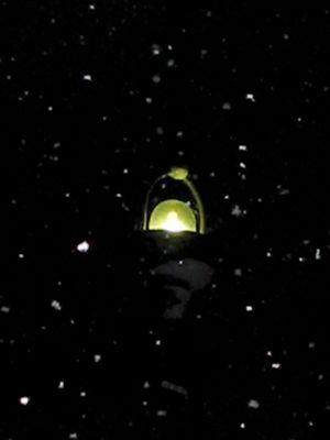 schneelampe im fall begriffen