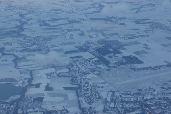 Schneelandschaft von oben