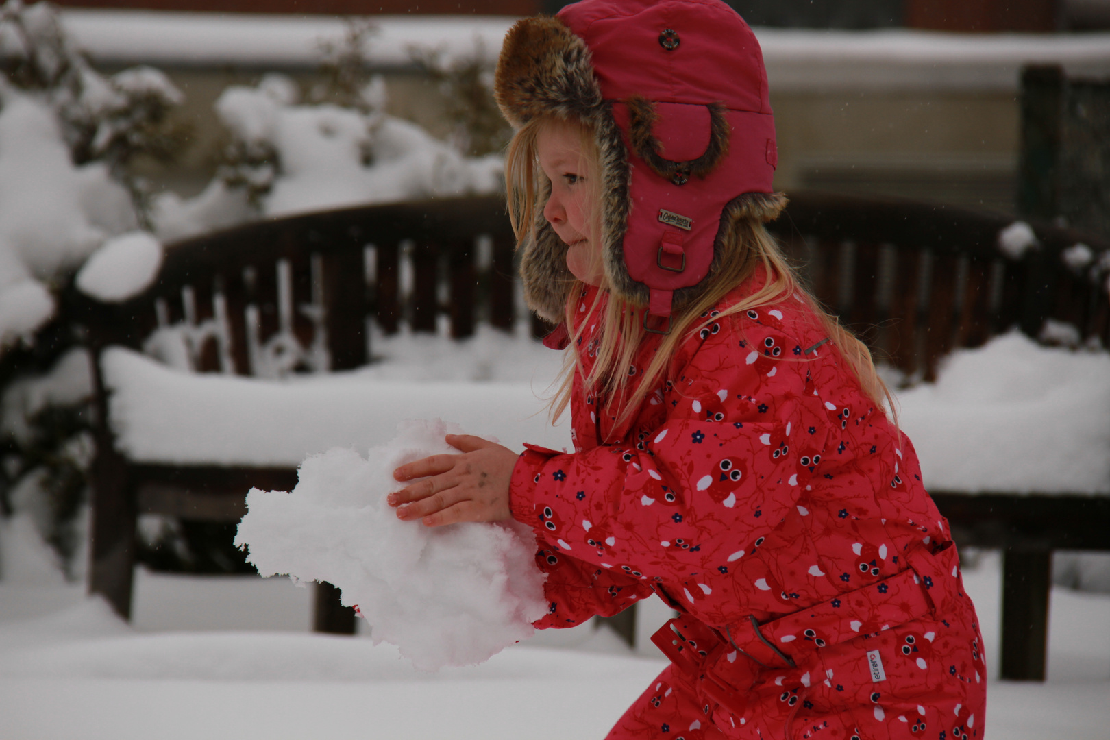 Schneemann bauen bei Petra