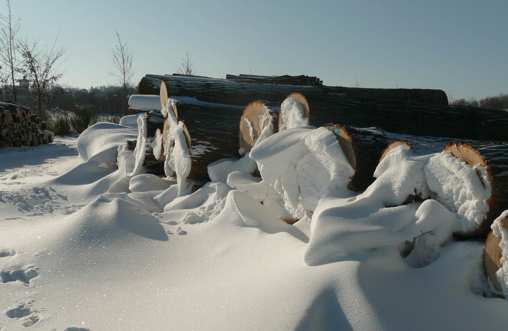 Schneeskulpturen am Wegesrand
