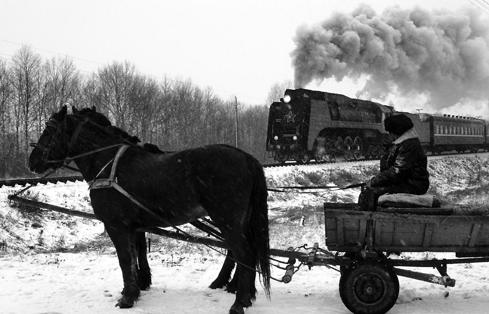 Schneetreiben in Sibirien