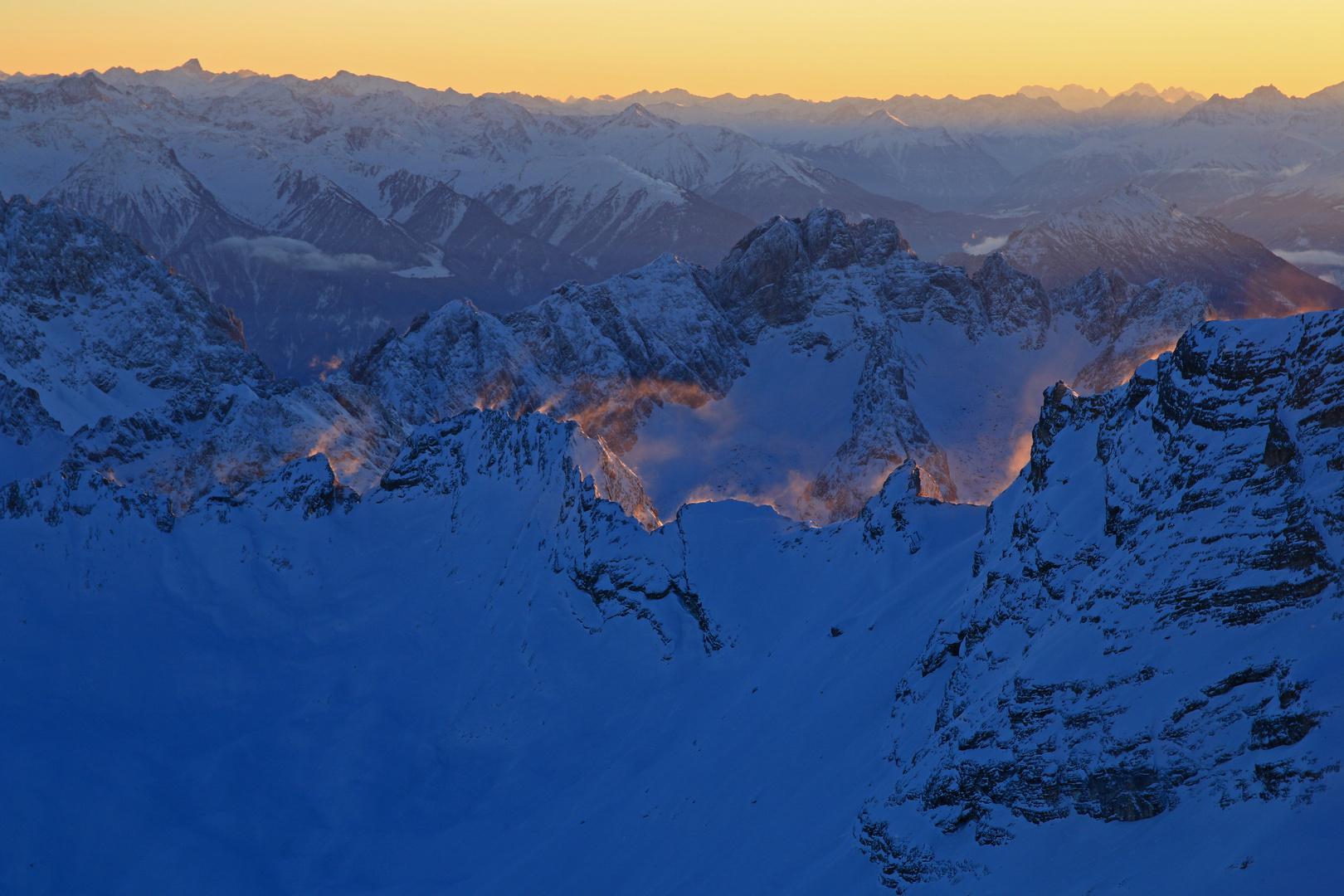 Schneeverwehung auf der Zugspitze