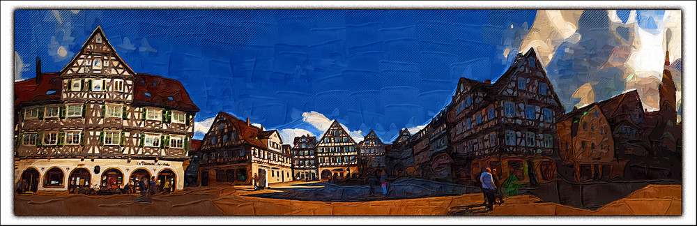 schorndorf, south of germany , oil painting panorama,