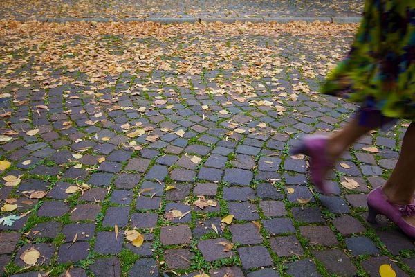 Schritte im beginnenden Herbst