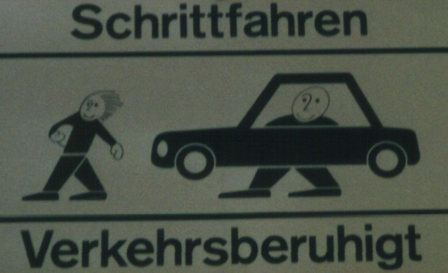 Schrittfahren Verkehrberuhigt