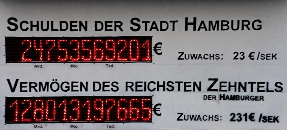 Schuldenuhr an der Uni Hamburg
