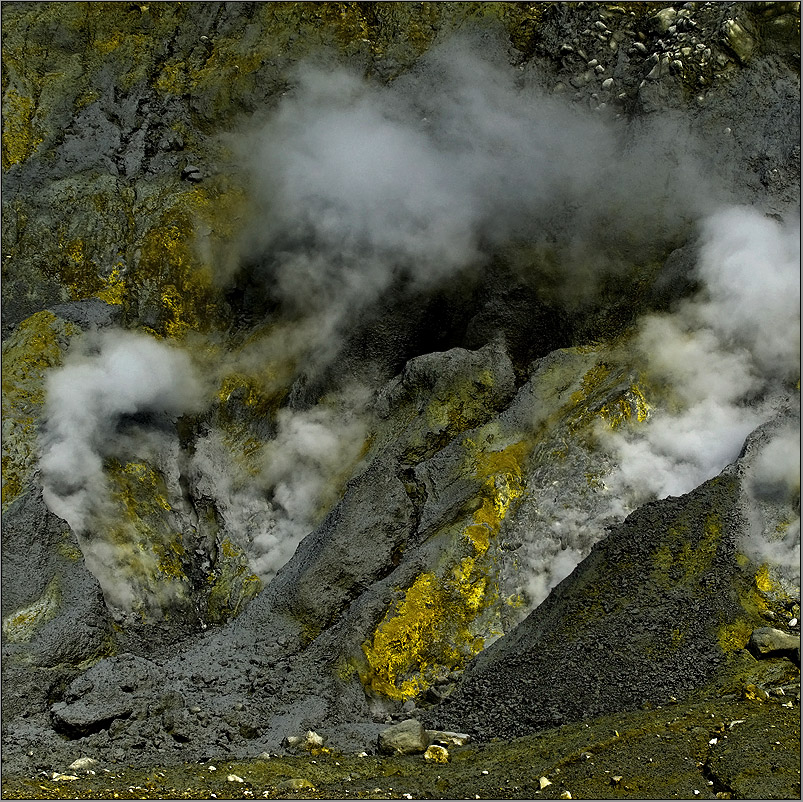 schwefel - lava - asche - rauch