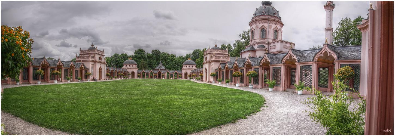 Schwetzinger Gartenanlage die Moschee als Pseudo-HDR Panorama