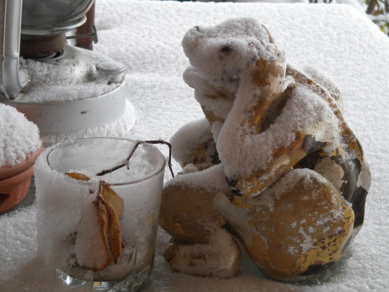 sculpture sous la neige