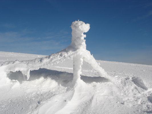 scultura di ghiaccio sul crinale
