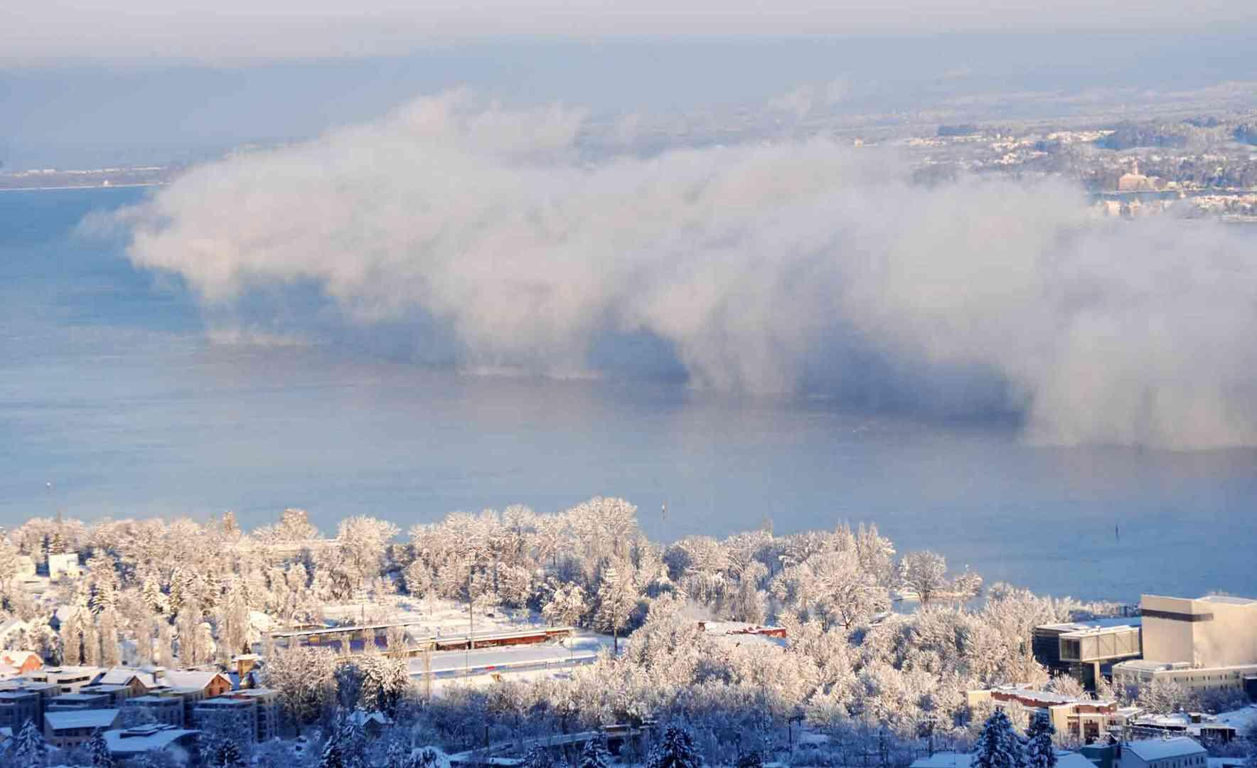 See im Winter und mit einer Nebelbank