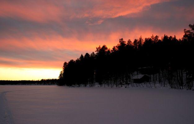 """See-Ueberquerung in Lappland bei """"Sonnenuntergang"""""""