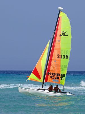Segel-Katamaran HOBIE CAT am Traumstrand Playas de Sotavento