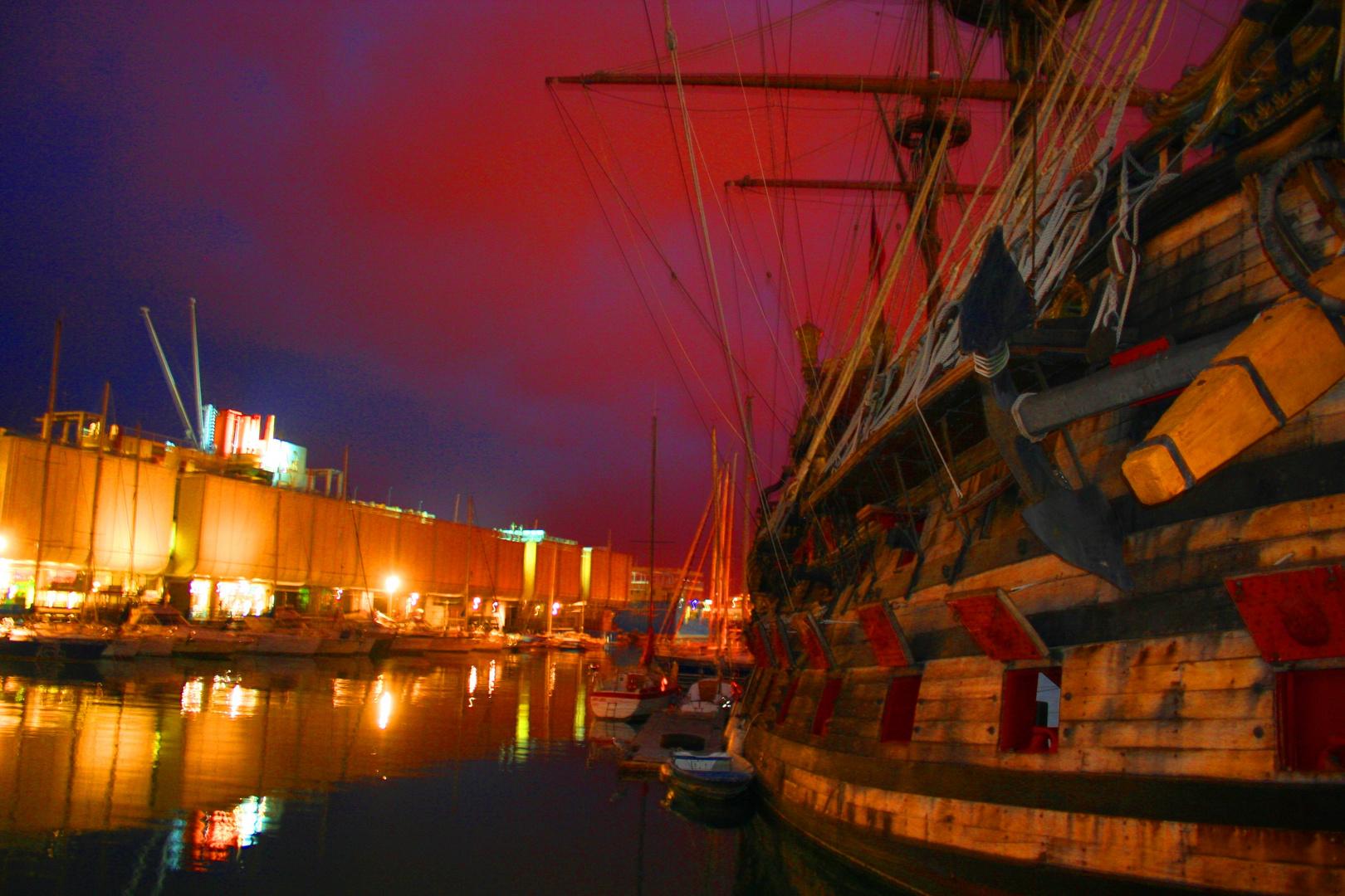 Segelboot im Hafen von Genua