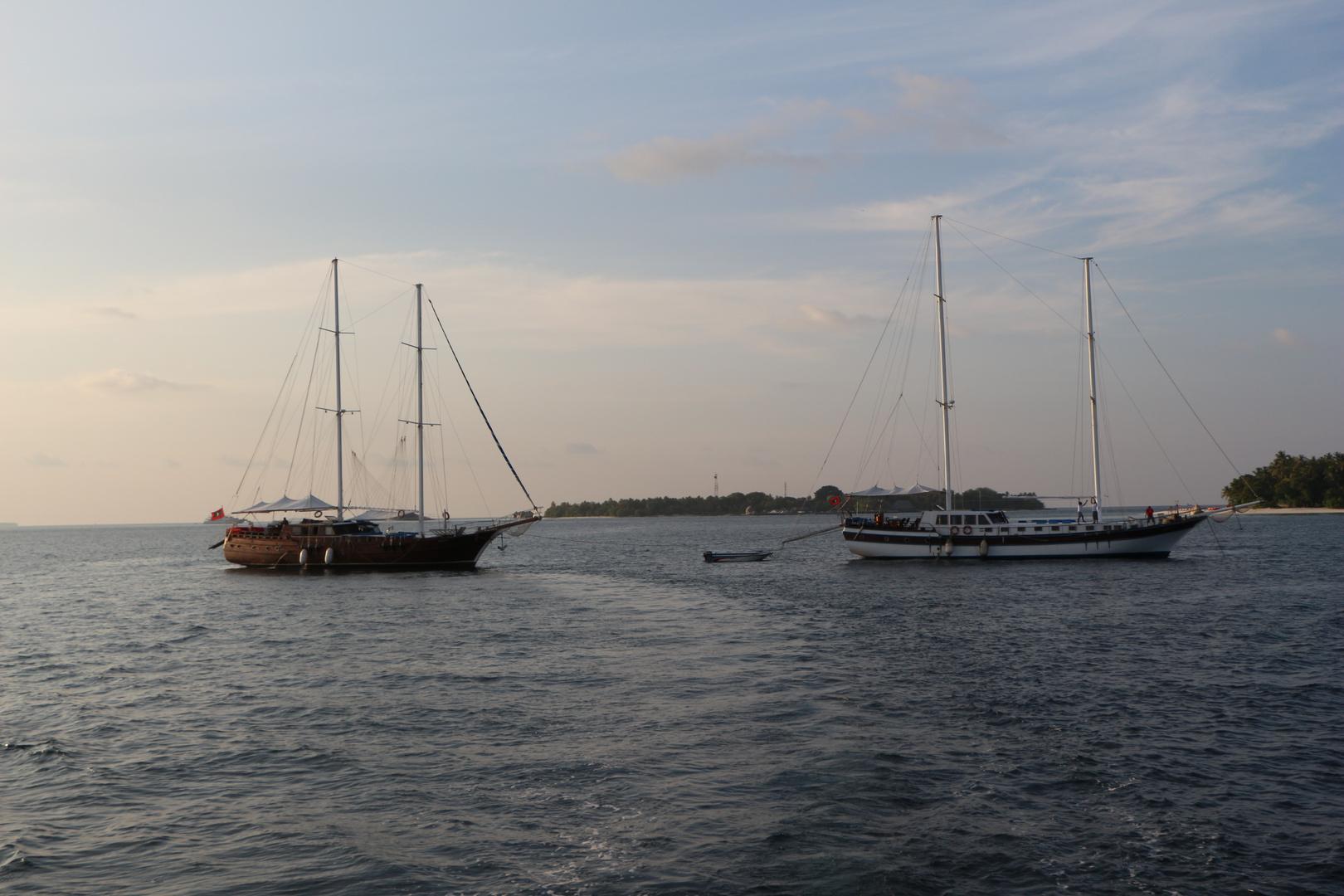 Segelboote in den Malediven