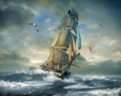 Segelschiff in voller Fahrt