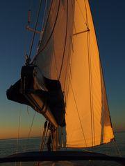 Segelyacht im Sonnenuntergang I