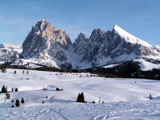 Seiseralm mit Langkofel in den Dolomiten
