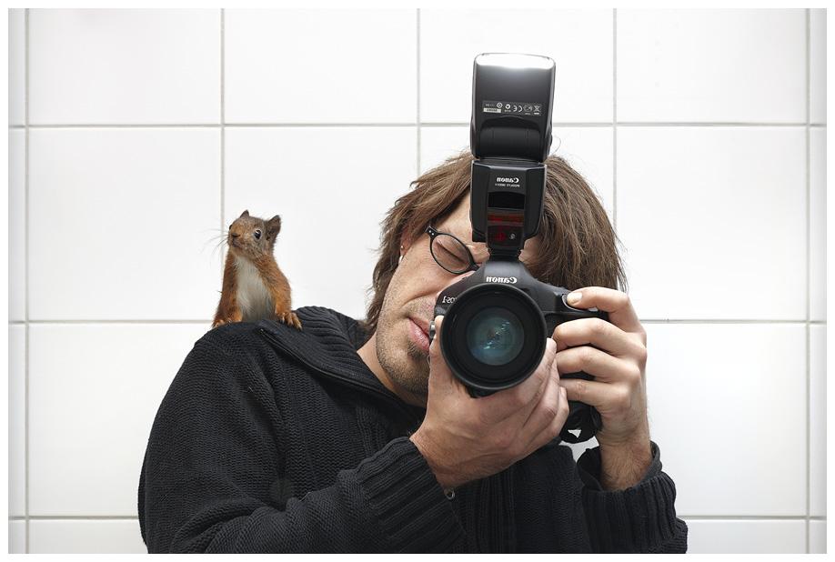 Selbstportrait mit Eichhörnchen