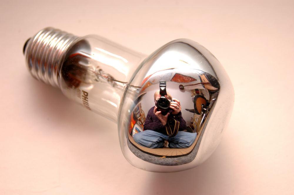 Selfportrait in a lightbulb