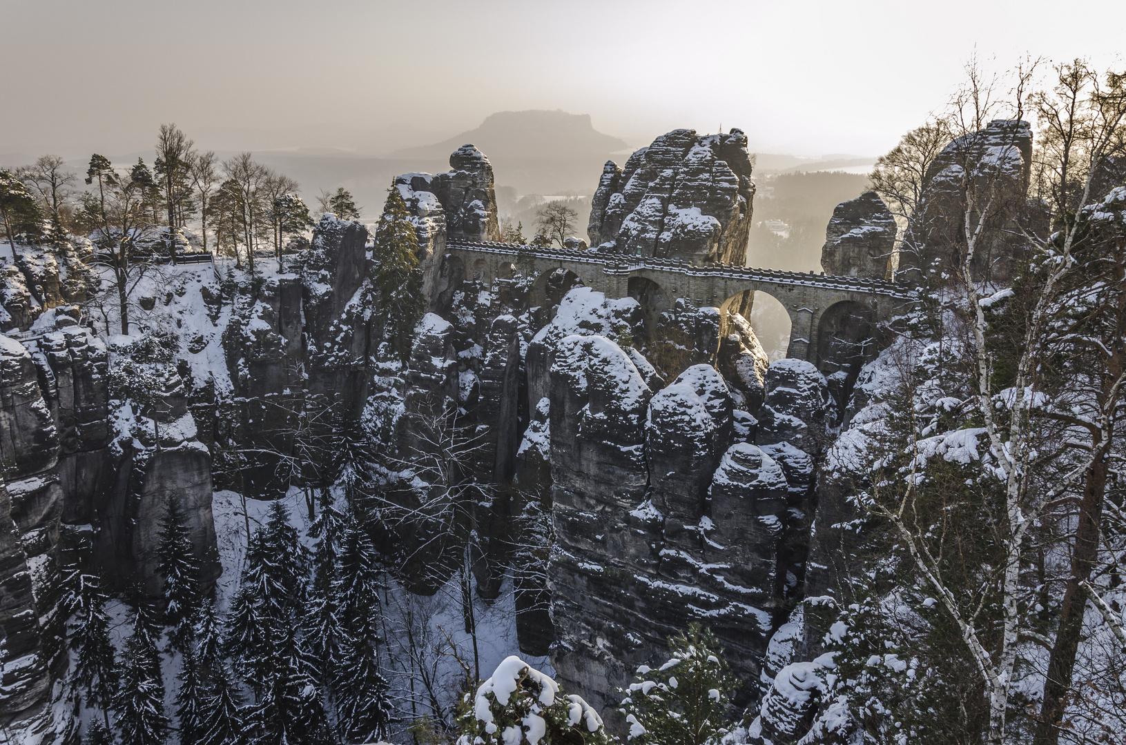Seltener Anblick - Bastei (fast) ohne Besucher