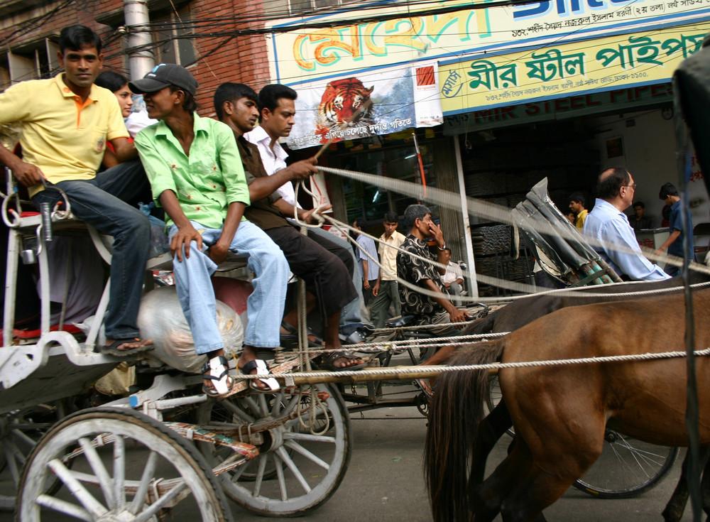 Seltener Anblick - Kutschfahrt in Dhaka