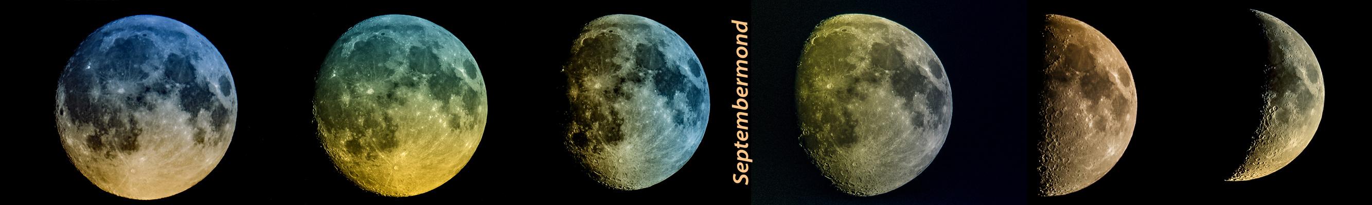 Septembermond Collage von rechts nach links (Tonung der jeweiligen Realität angepasst)