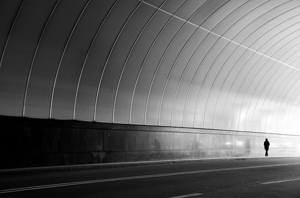 shadow in the tunnel