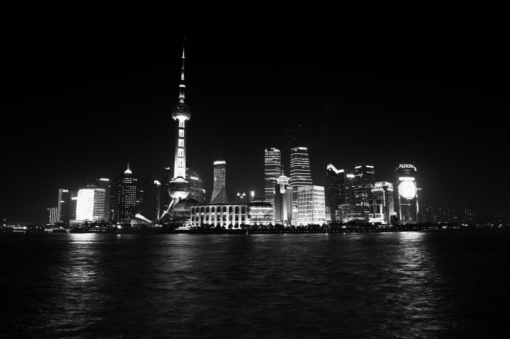 Shanghai Skyline in black and light