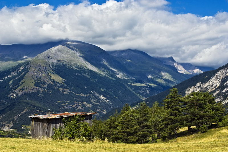 Shed in mountain