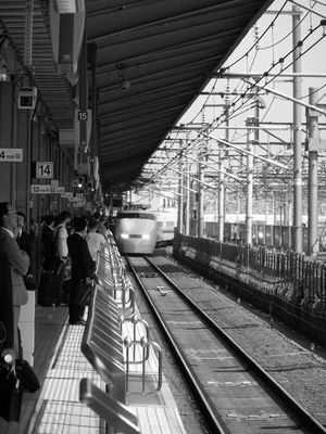 Shinkansen coming in Nagoya station