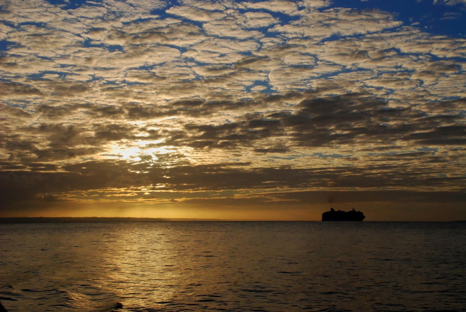 Ship anchored near Cayo Levantado