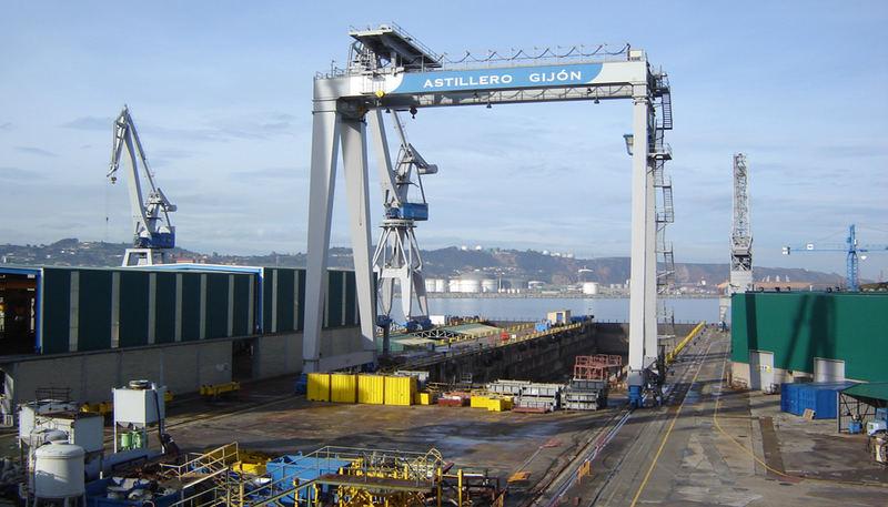Shipyard in Gijón, northern Spain.