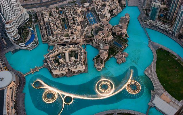 Sicht vom Burj Khalifa auf die Fountain
