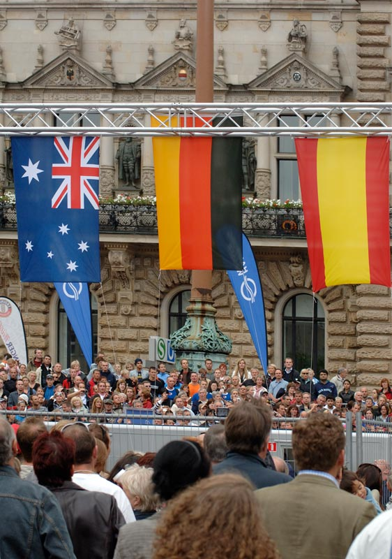 Siegerehrung vor dem Rathaus