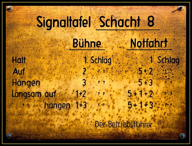 Signaltafel Schacht 8