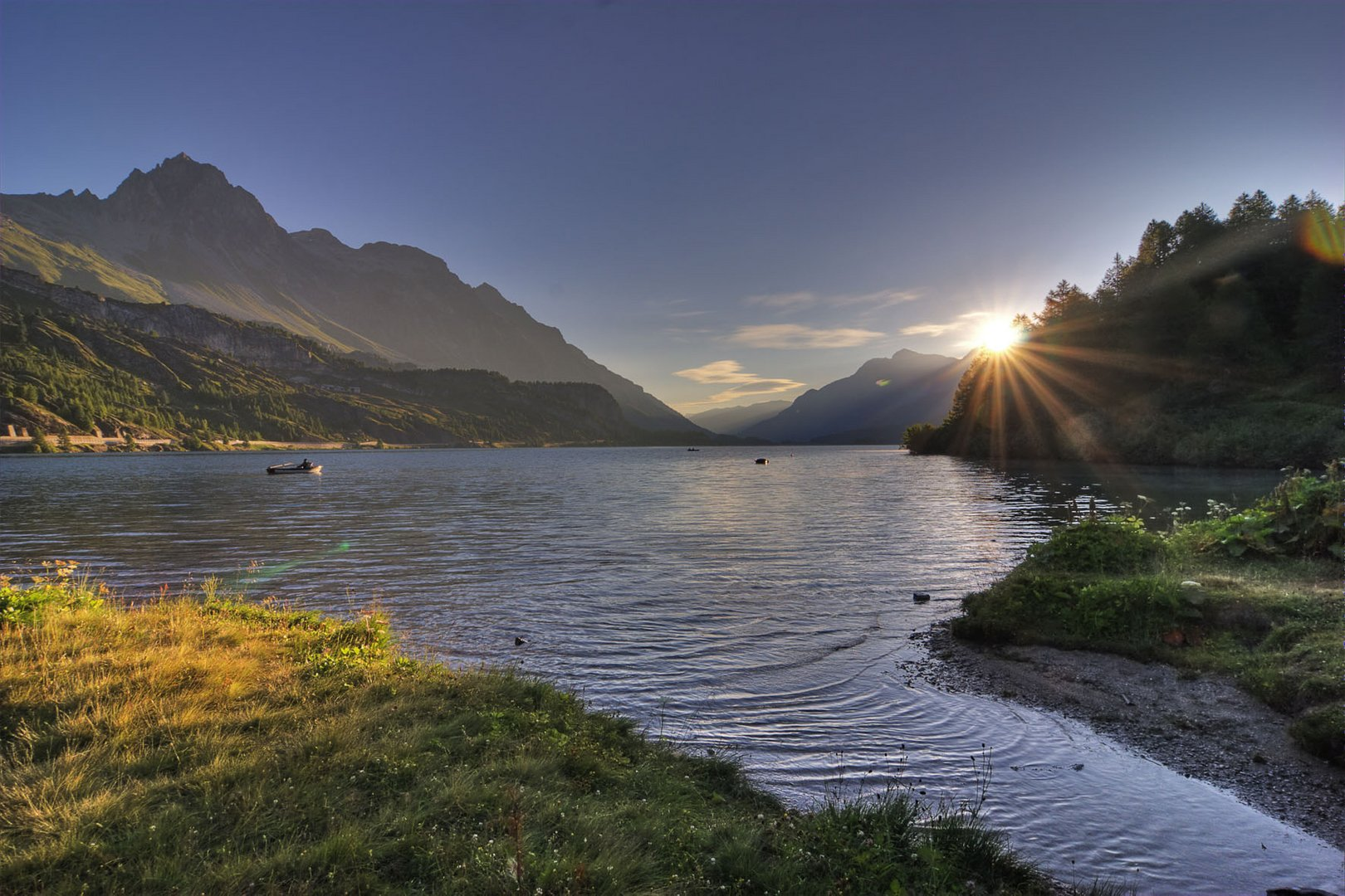 Silser See (Engadin) am Morgen