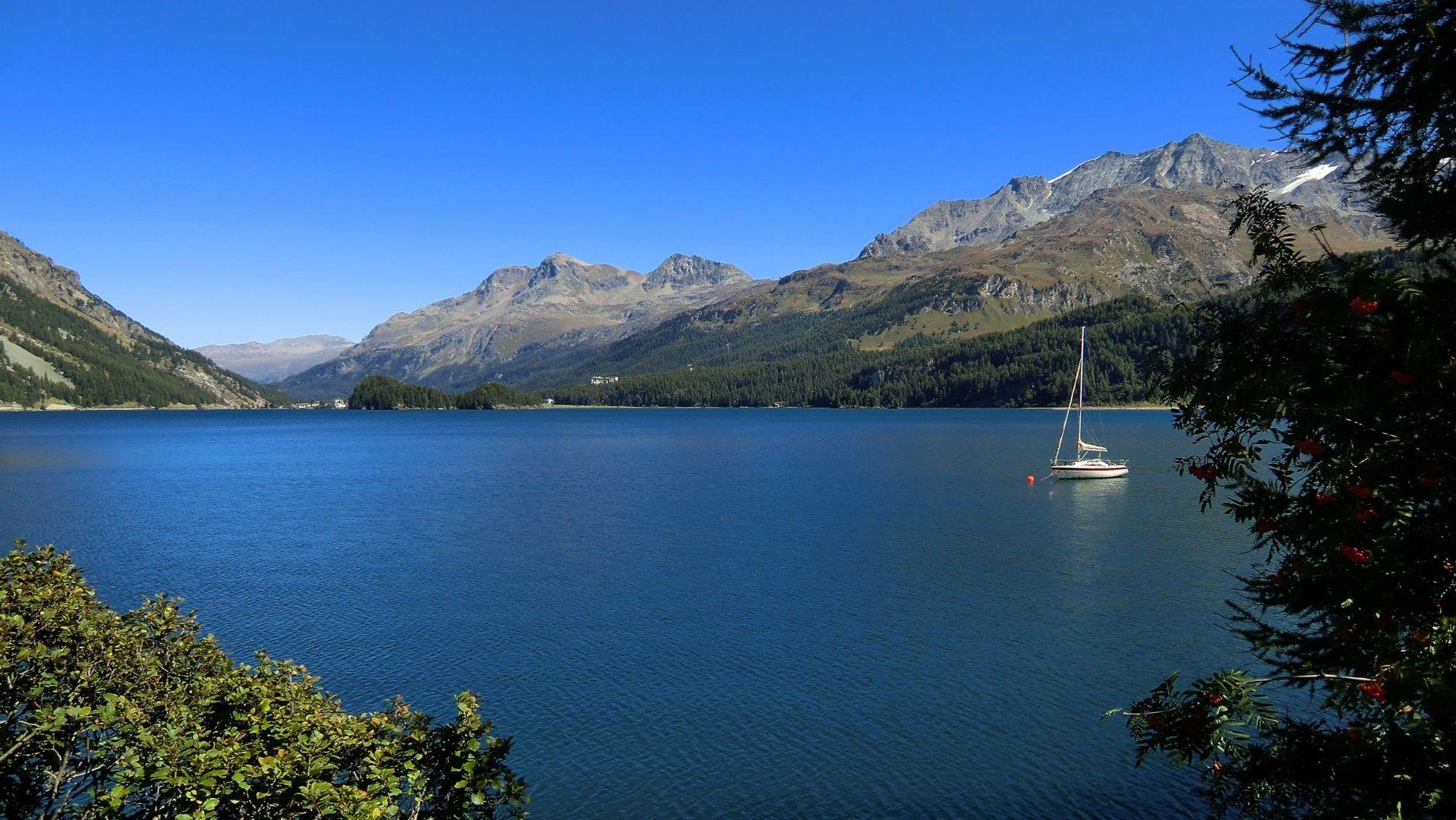 Silser See mit Rosatsch-Massiv