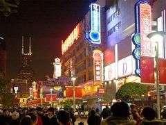 Silvester-Abend auf den Nanjing Lu in Shanghai