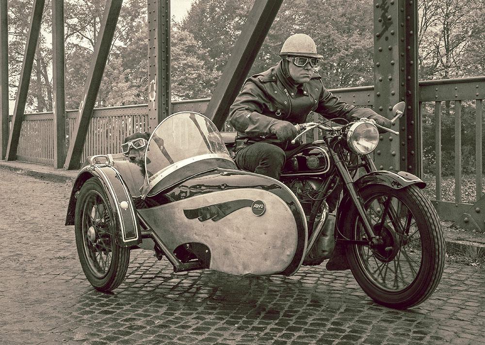 simson awo 425 t mit beiwagen im vintage look foto bild motorrad oldtimer verkehr bilder. Black Bedroom Furniture Sets. Home Design Ideas